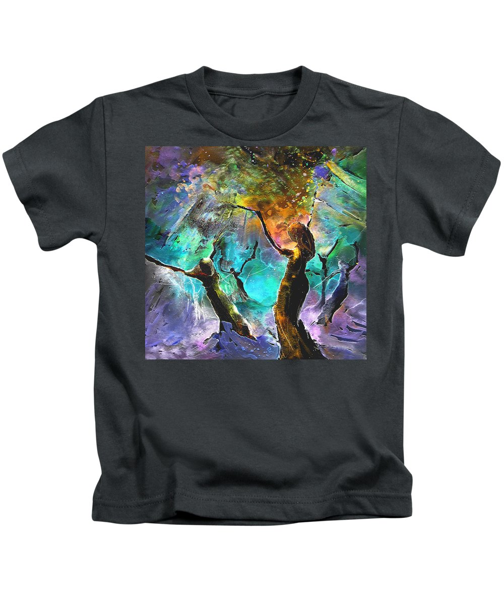 Miki Kids T-Shirt featuring the painting Celebration Of Life by Miki De Goodaboom
