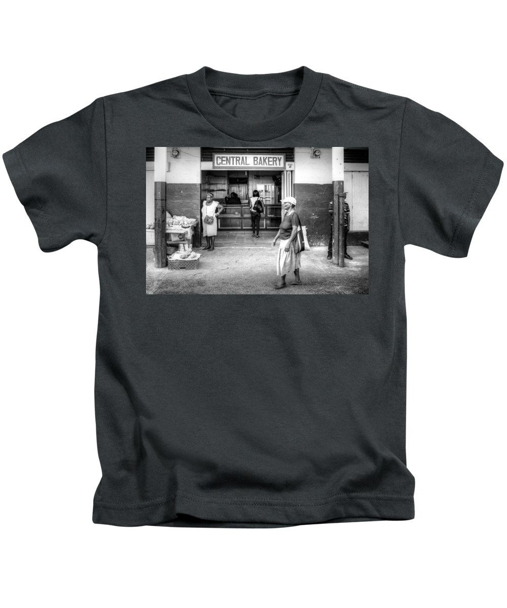 Catries Kids T-Shirt featuring the photograph Central Bakery St. Lucia by Ferry Zievinger