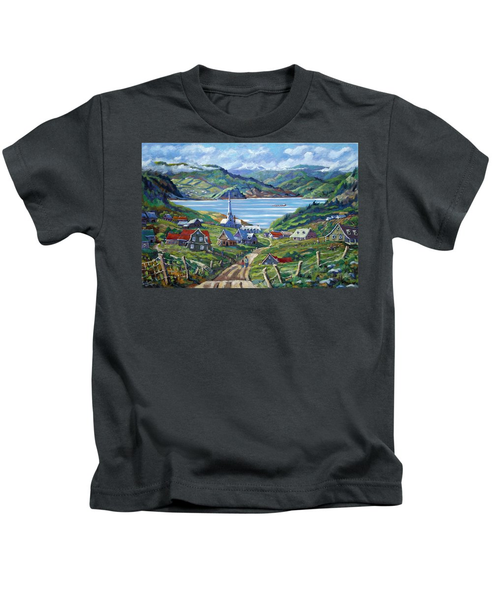 Kids T-Shirt featuring the painting Charlevoix Scene by Richard T Pranke