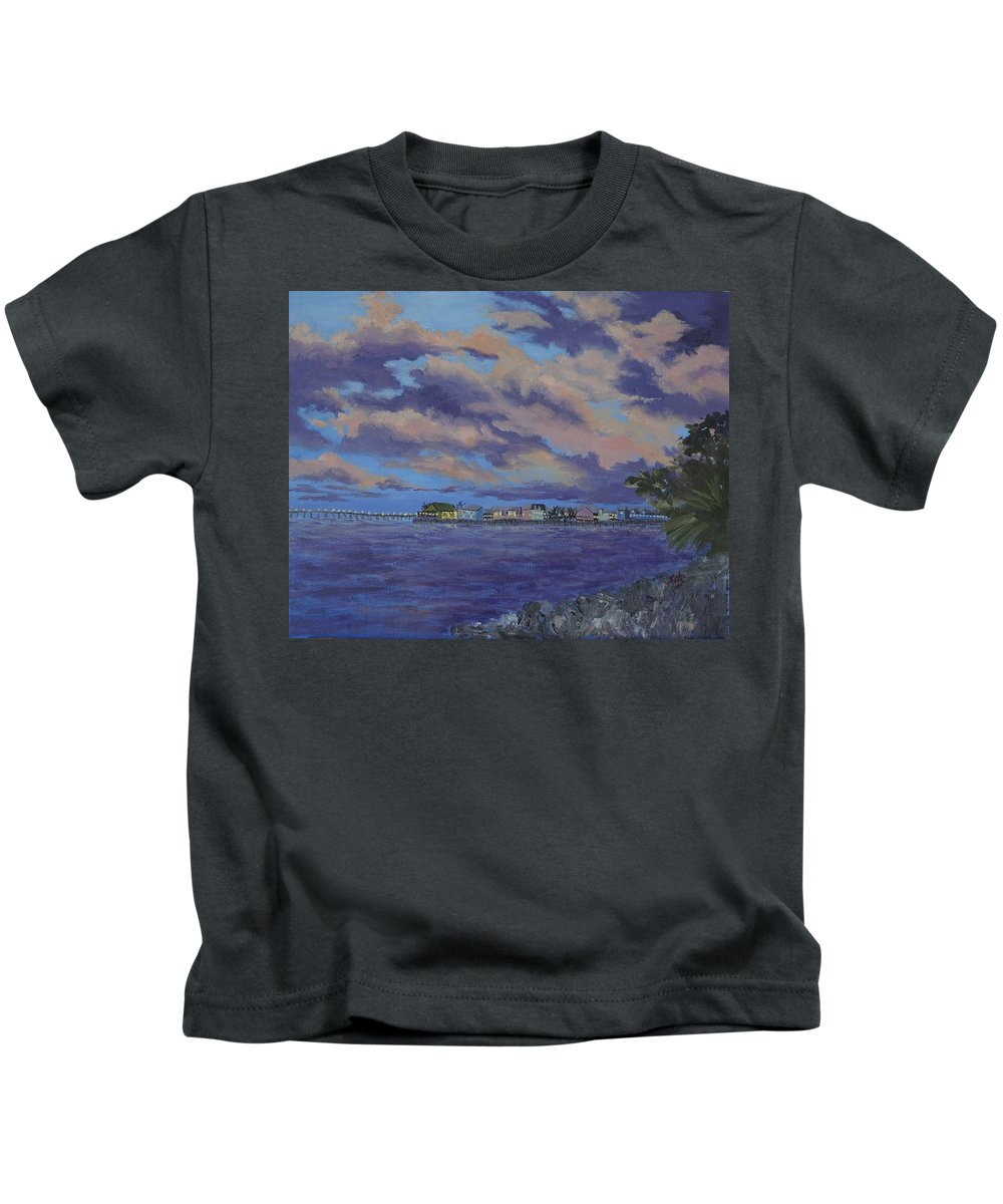Sailing Kids T-Shirt featuring the painting Charlotte Harbor Sunset by Kathy Przepadlo