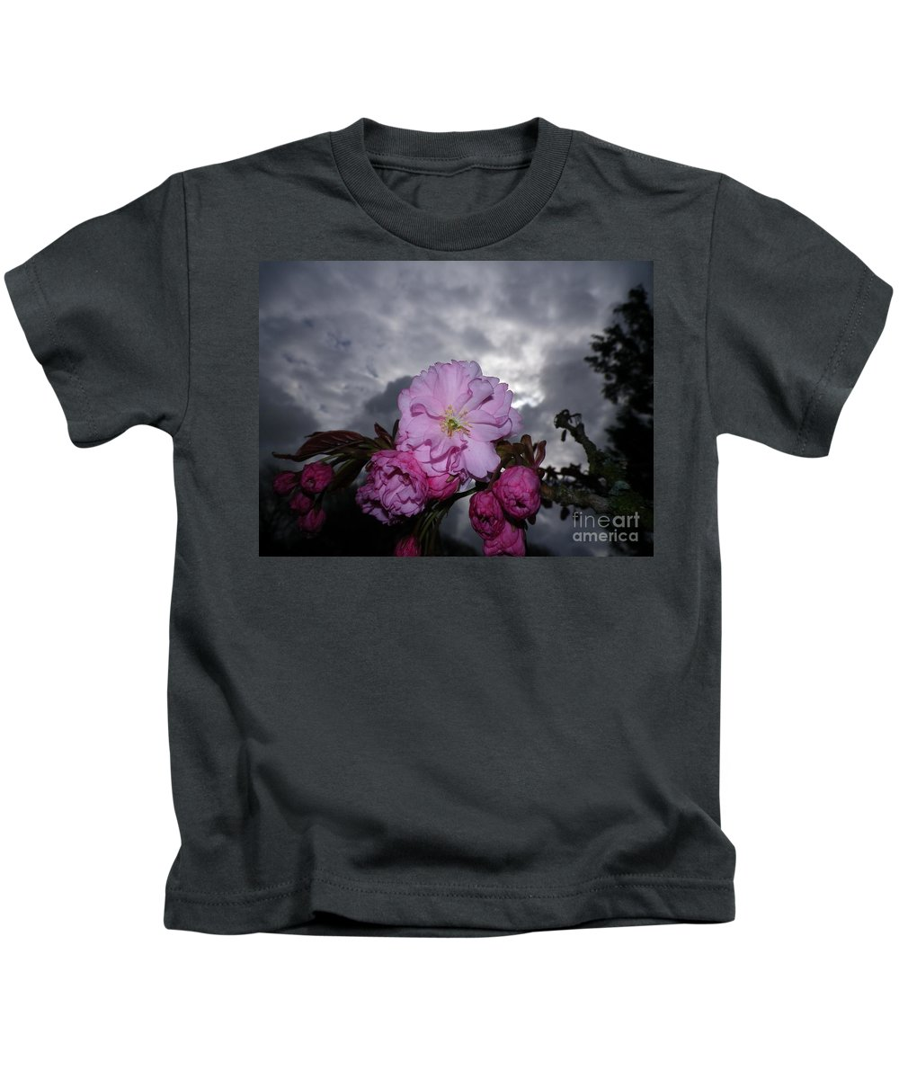 Cherry Blossom Tree Flash Macro Storm Stormy Grey Gray Clouds Dark Pink Spring Sky Skies Unusual Plant Plants Devon Serene Lowering Kids T-Shirt featuring the photograph Cherry Blossom by Richard Brookes