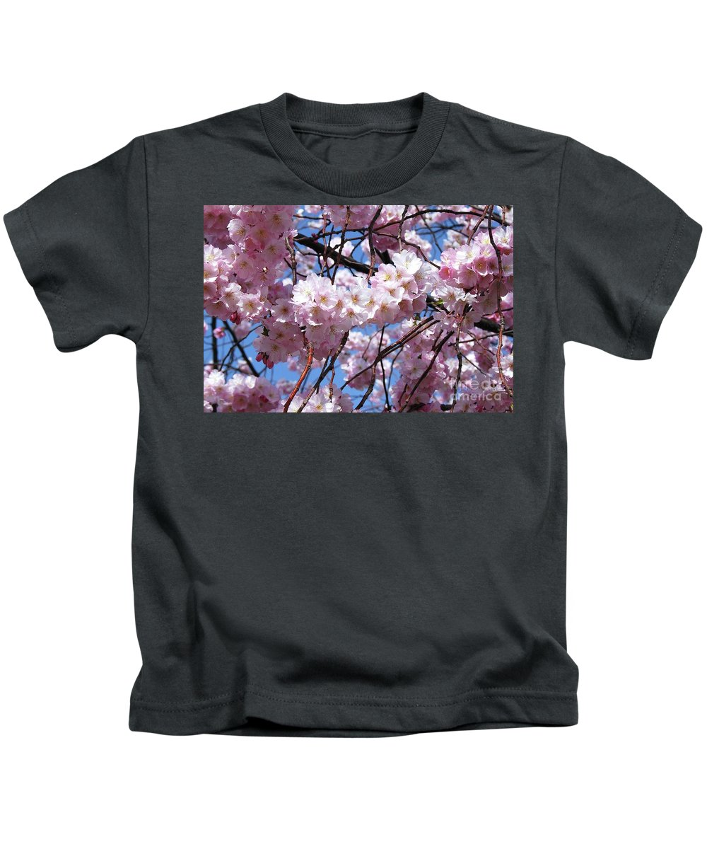 Cherry Blossoms Kids T-Shirt featuring the photograph Cherry Blossom Trees Of Branch Brook Park 3 by Allen Beatty