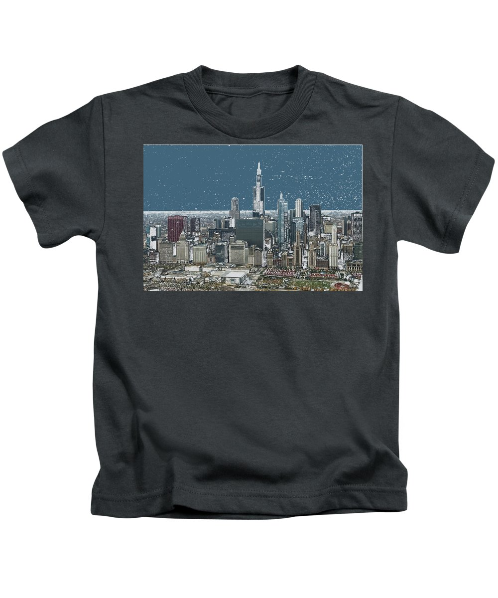 Cities Kids T-Shirt featuring the photograph Chicago Looking West In A Snow Storm Digital Art by Thomas Woolworth
