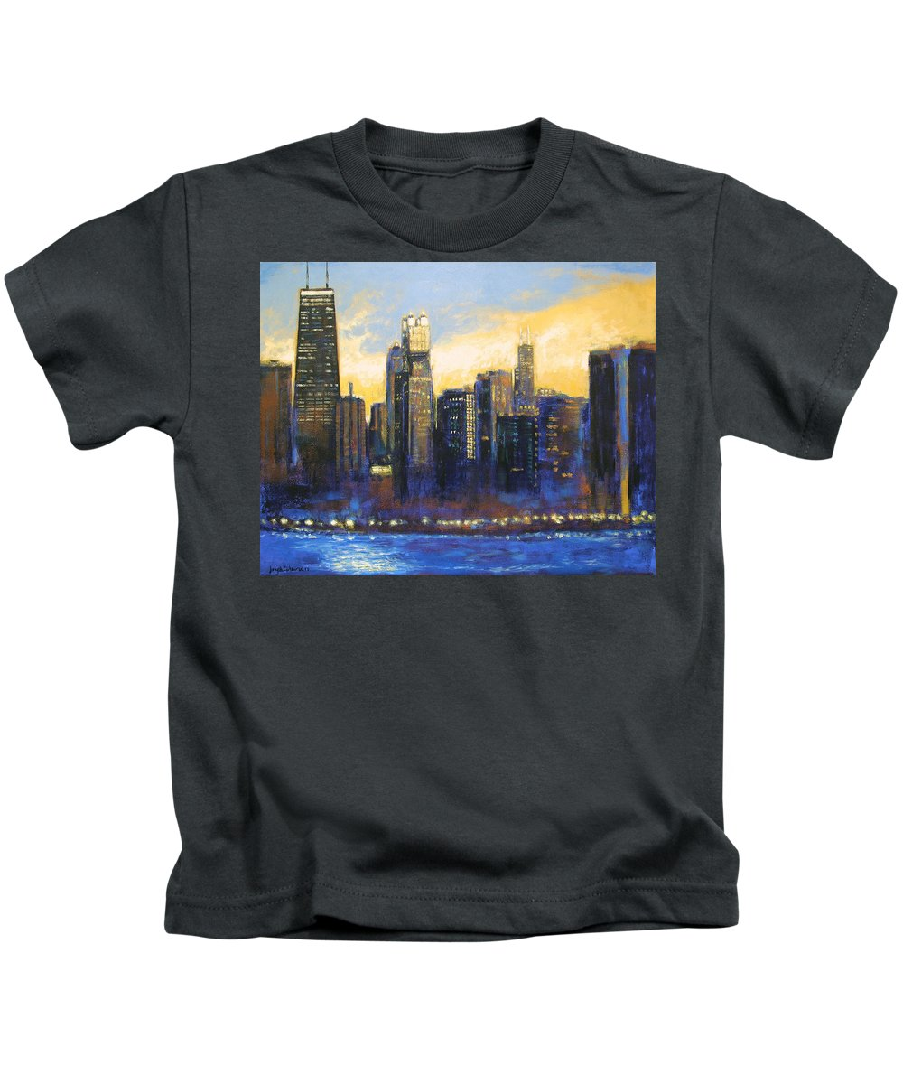 Chicago Skyline Kids T-Shirt featuring the painting Chicago Sunset Looking South by Joseph Catanzaro