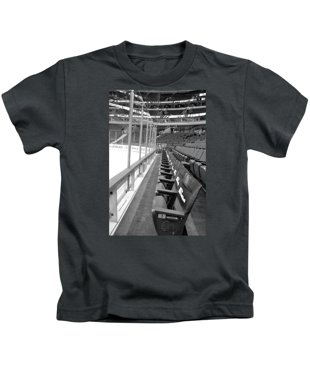 Chicago Blackhawks Kids T-Shirt featuring the photograph Chicago United Center Before The Gates Open Blackhawk Seat One Bw by Thomas Woolworth