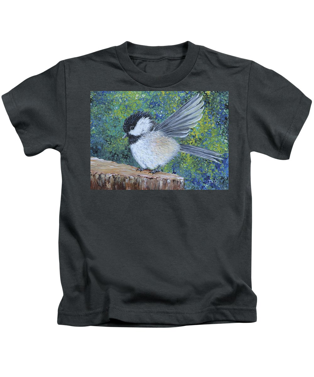Chickadee Kids T-Shirt featuring the painting Chickadee Landing by Dee Carpenter