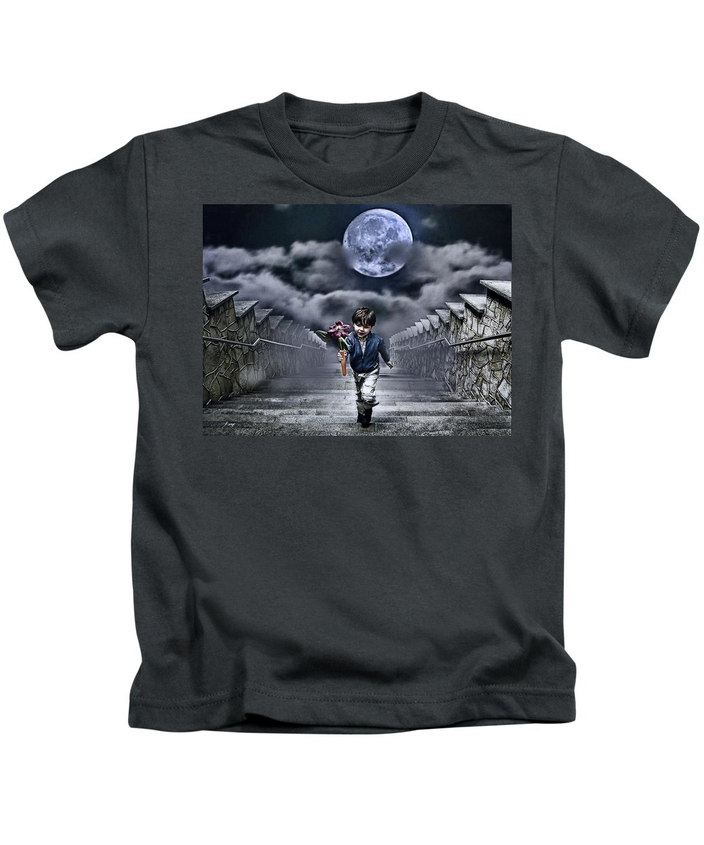 Boy Kids T-Shirt featuring the photograph Child Of The Moon by Joachim G Pinkawa