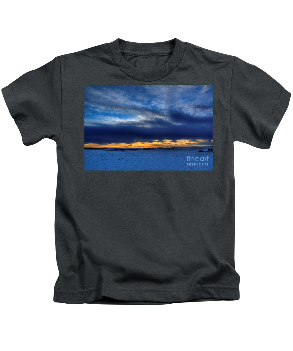 Sunrise Kids T-Shirt featuring the photograph Chinook And The Prairie Bear by James Anderson