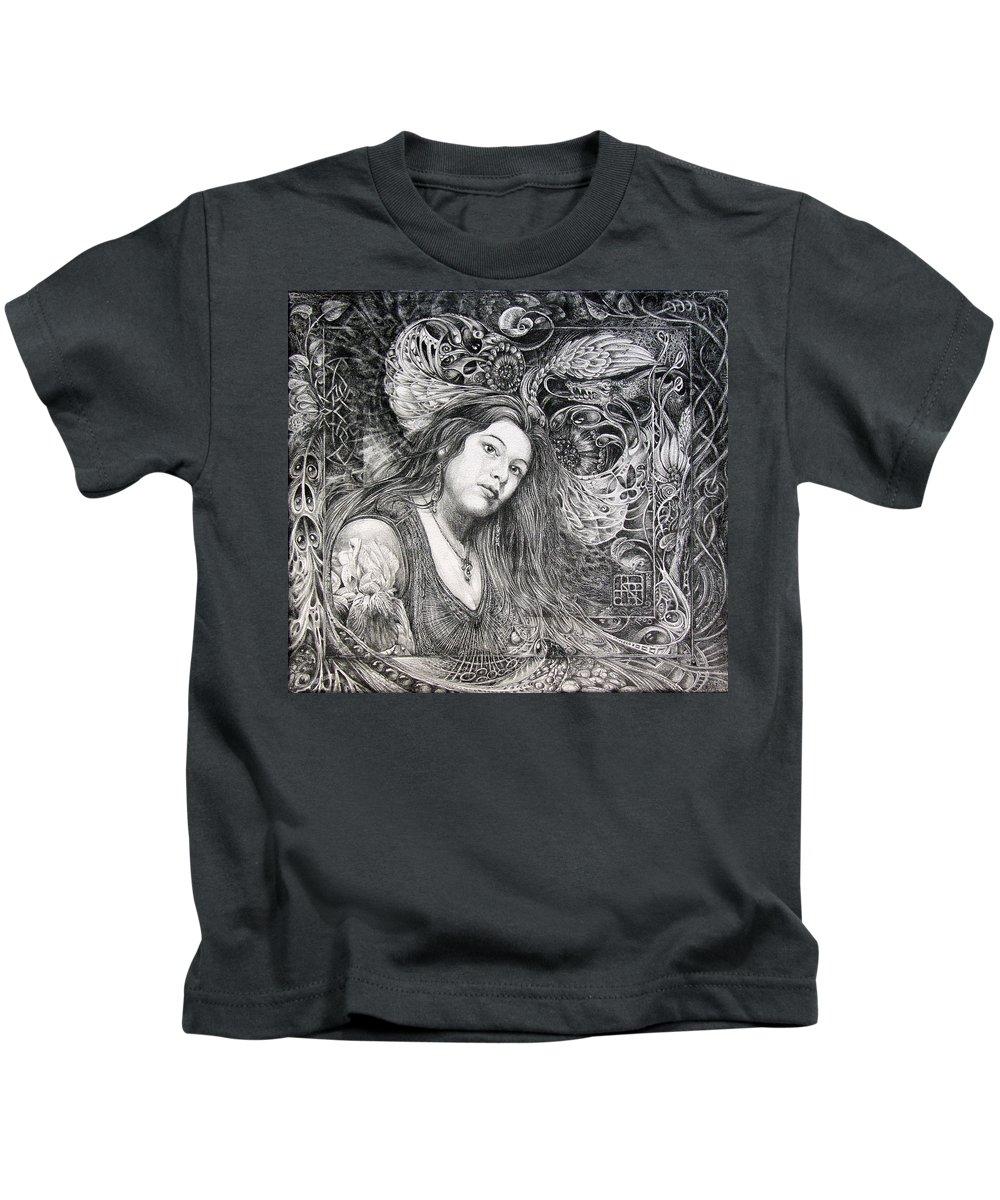 Portrait Kids T-Shirt featuring the drawing Christan Portrait by Otto Rapp