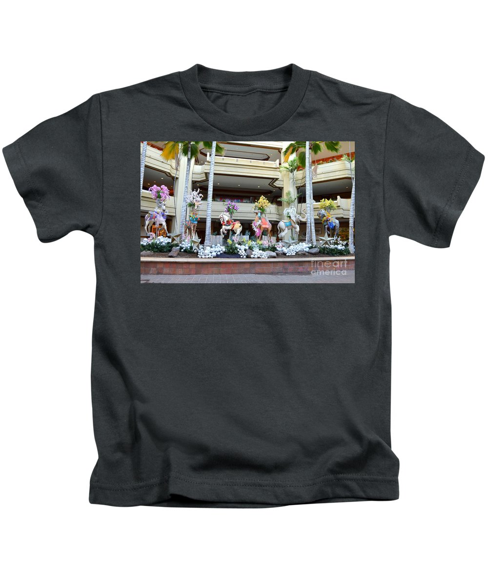 Christmas Kids T-Shirt featuring the photograph Christmas Carousel Animals by Mary Deal