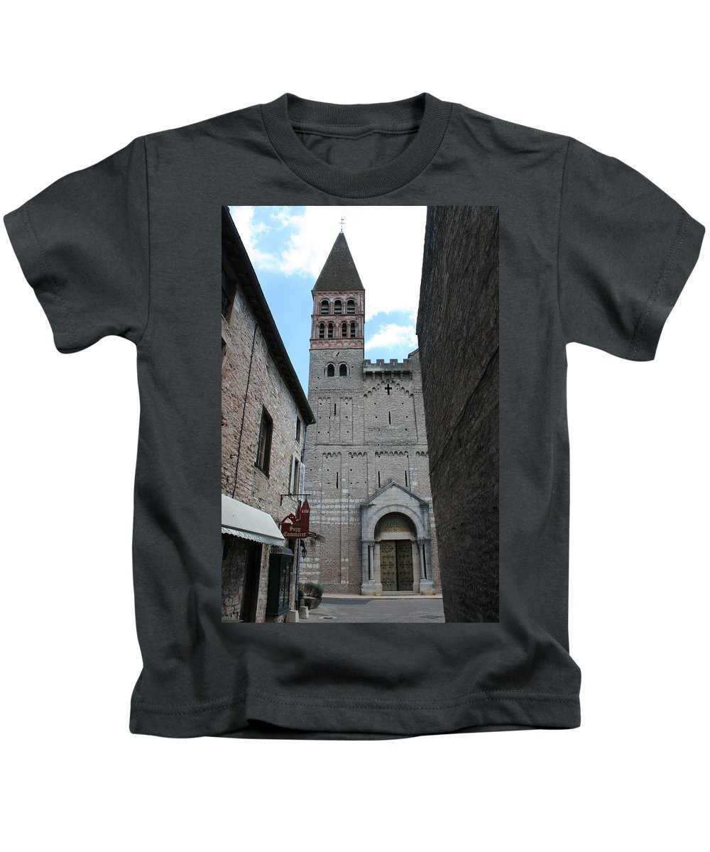 Alley Kids T-Shirt featuring the photograph Church St. Philibert - Tournus by Christiane Schulze Art And Photography