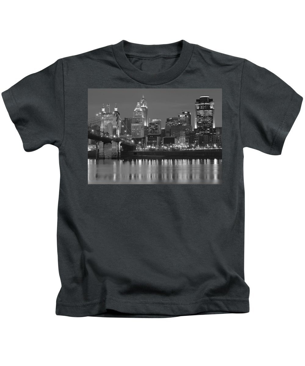Cincinnati Kids T-Shirt featuring the photograph Cincinnati Black And White Night by Frozen in Time Fine Art Photography