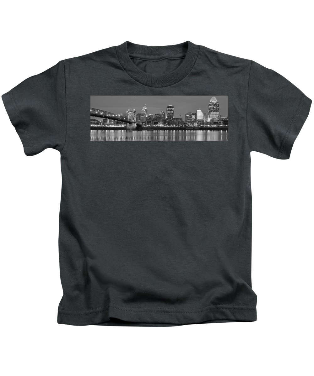 Cincinnati Kids T-Shirt featuring the photograph Cincinnati Black And White Panoramic View by Frozen in Time Fine Art Photography