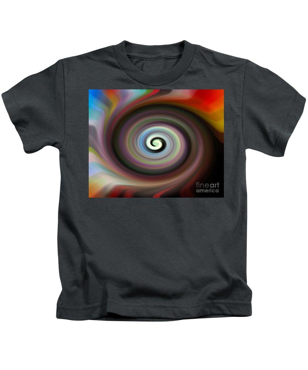 Digital Art Kids T-Shirt featuring the drawing Circled Carma by Luc Van de Steeg