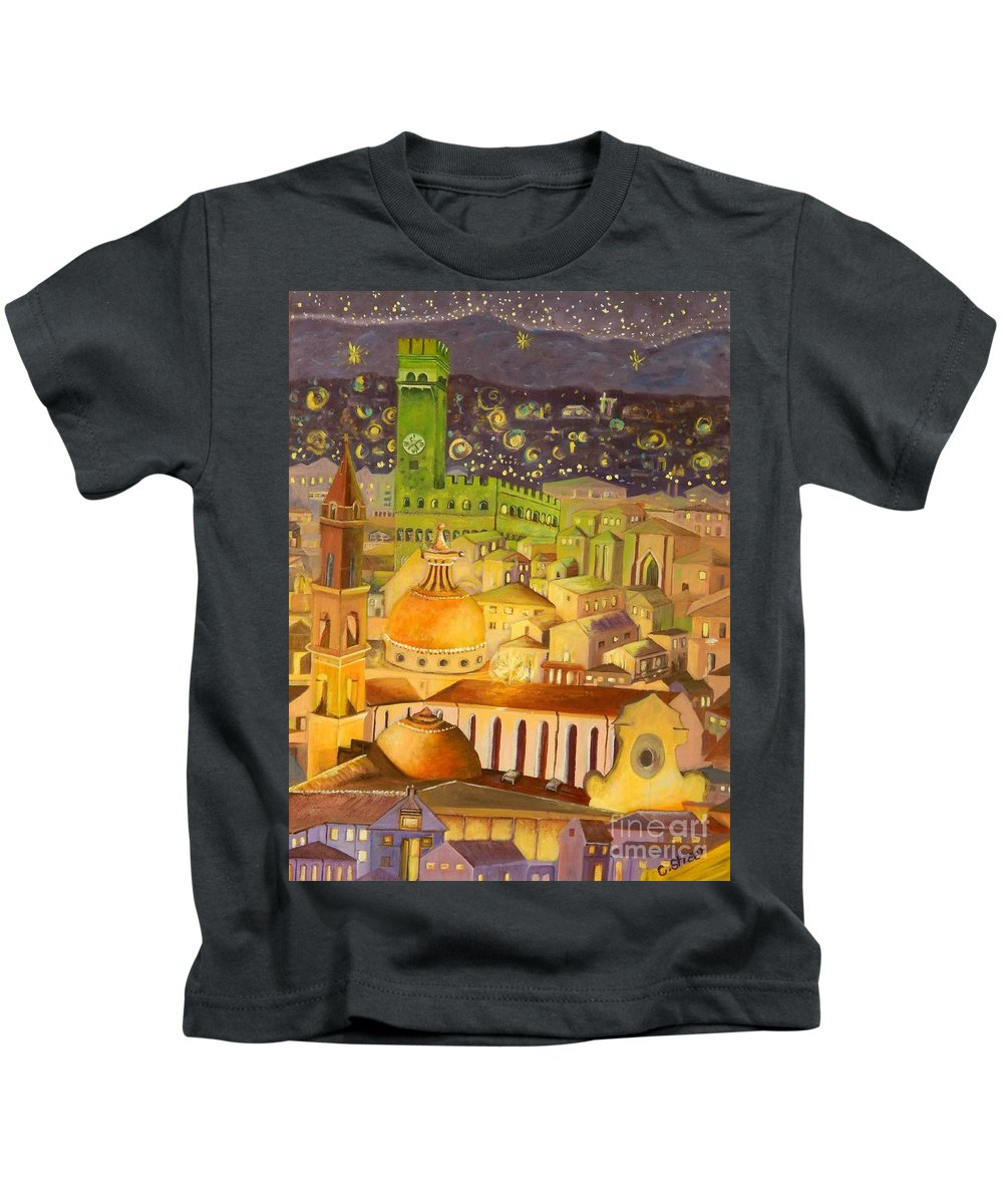 Venice Kids T-Shirt featuring the painting City Light Star Light by Caroline Street