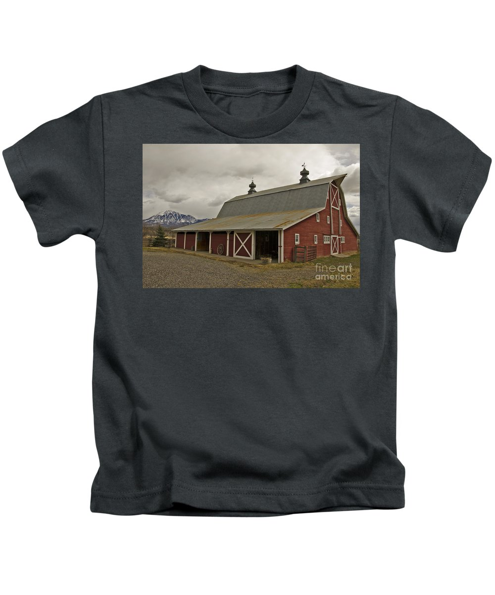 Barn Kids T-Shirt featuring the photograph Classic Colorado Country by Kelly Black