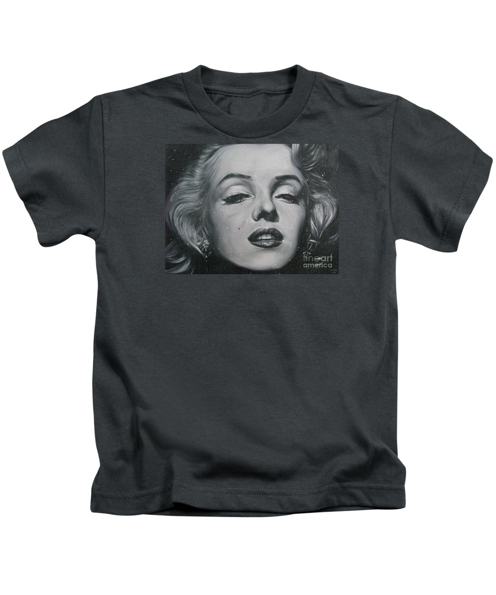 Marilyn Monroe Kids T-Shirt featuring the painting Close Up Marilyn by Sukalya Chearanantana
