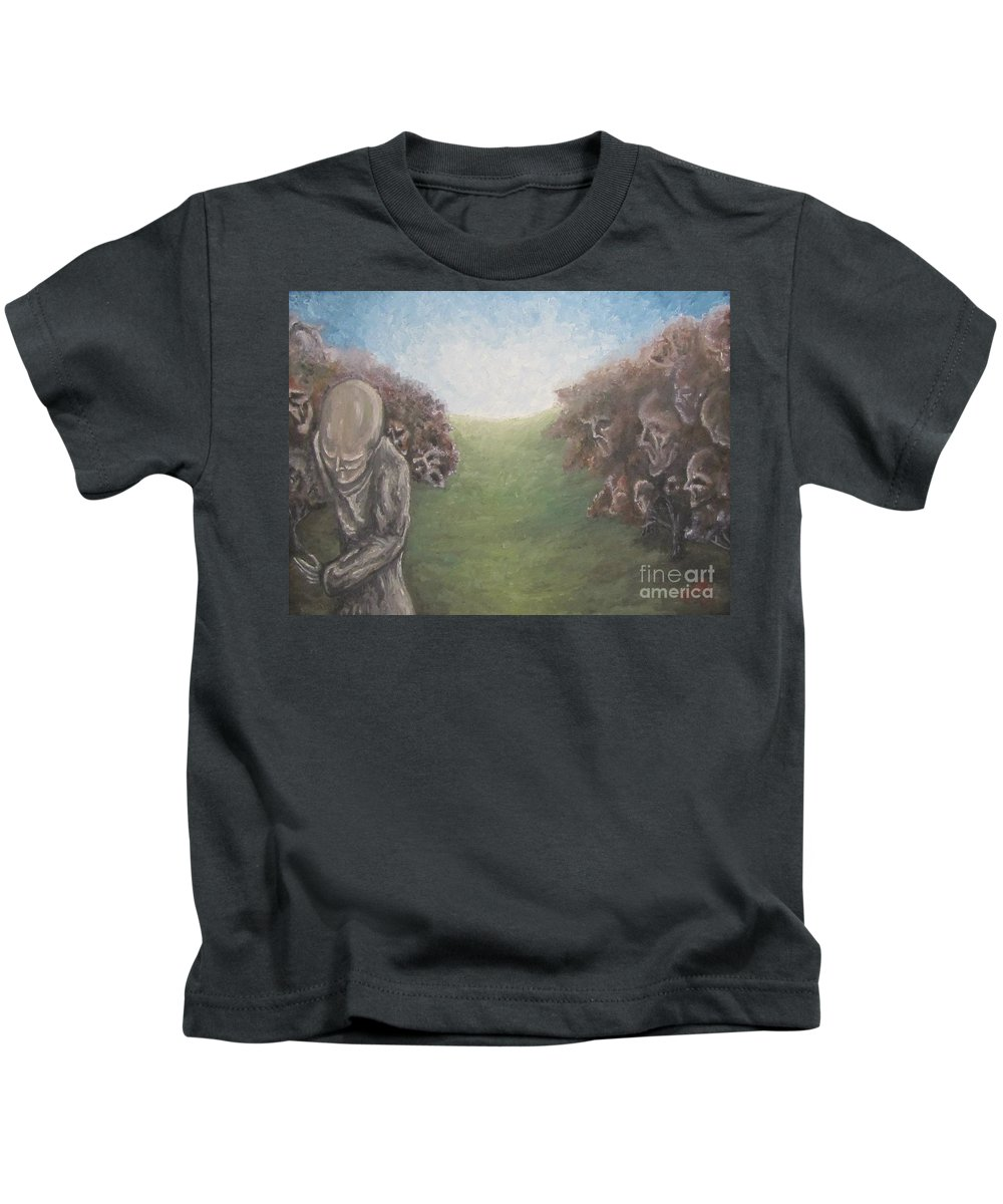 Tmad Kids T-Shirt featuring the painting Closure by Michael TMAD Finney