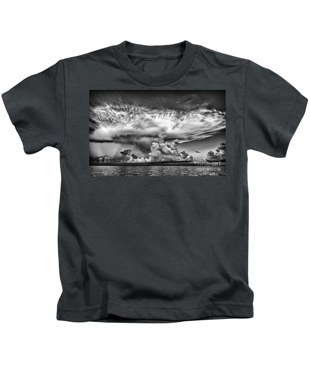 Cloud Kids T-Shirt featuring the photograph Cloud In Black And White by Bruce Bain