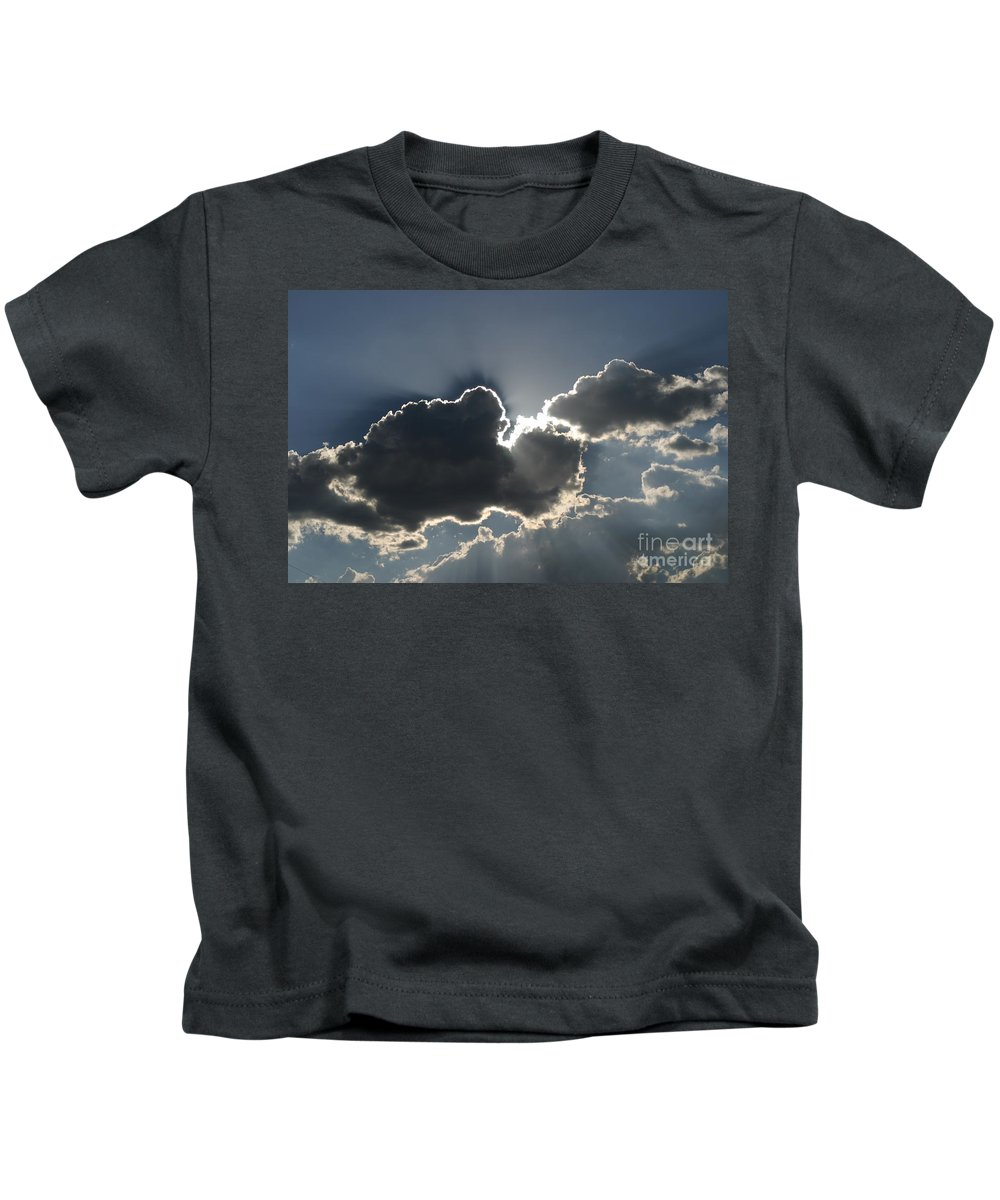 Clouds Kids T-Shirt featuring the photograph Cloud Rays by Isaiah Rambes