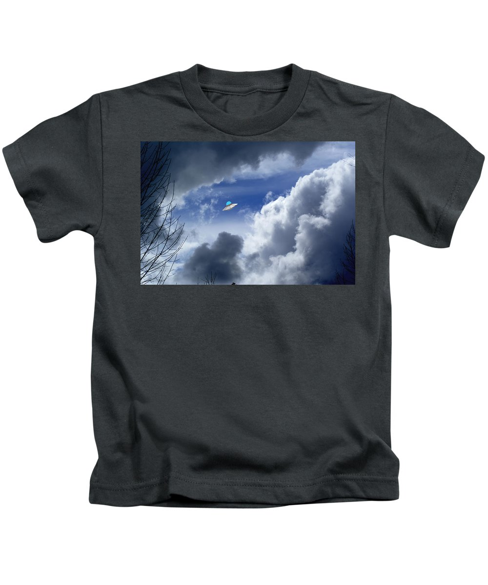 Aliens Kids T-Shirt featuring the photograph Cloud Surfing by Ben Upham III