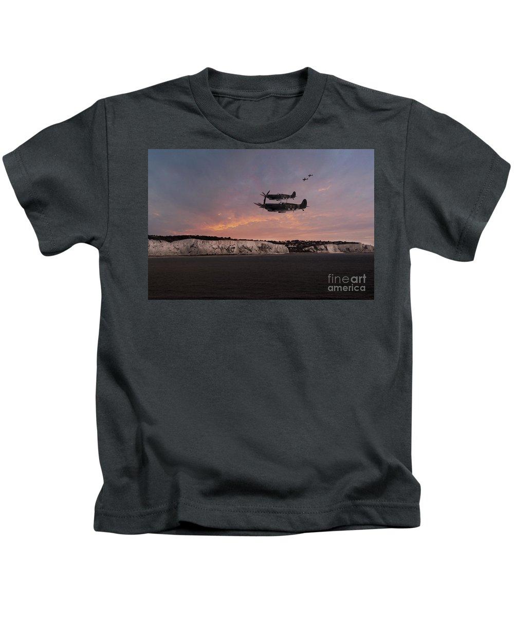 Spitfire Kids T-Shirt featuring the digital art Coastal Spitfires by J Biggadike