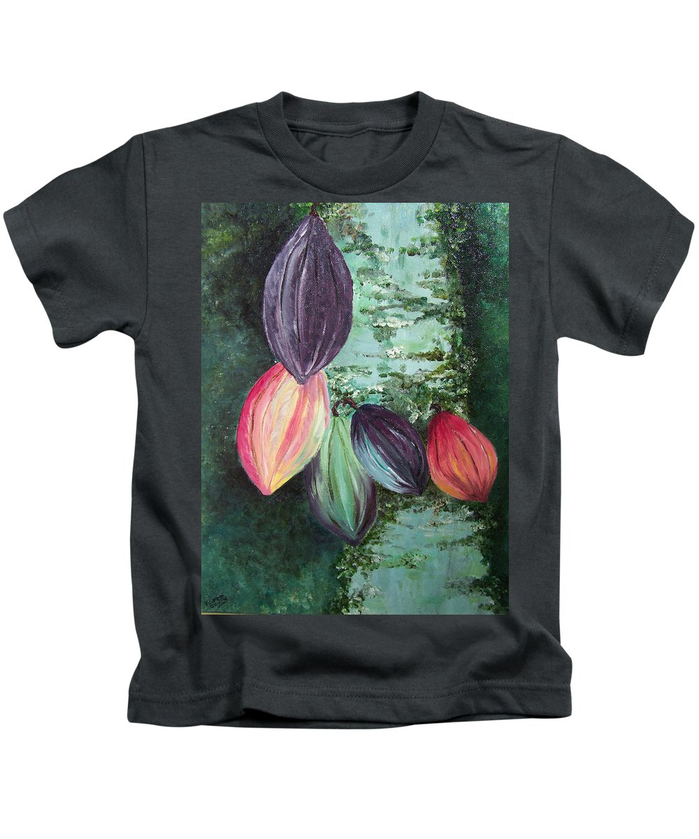 Cocoa On The Tree Kids T-Shirt featuring the painting Cocoa Pods by Karin Dawn Kelshall- Best