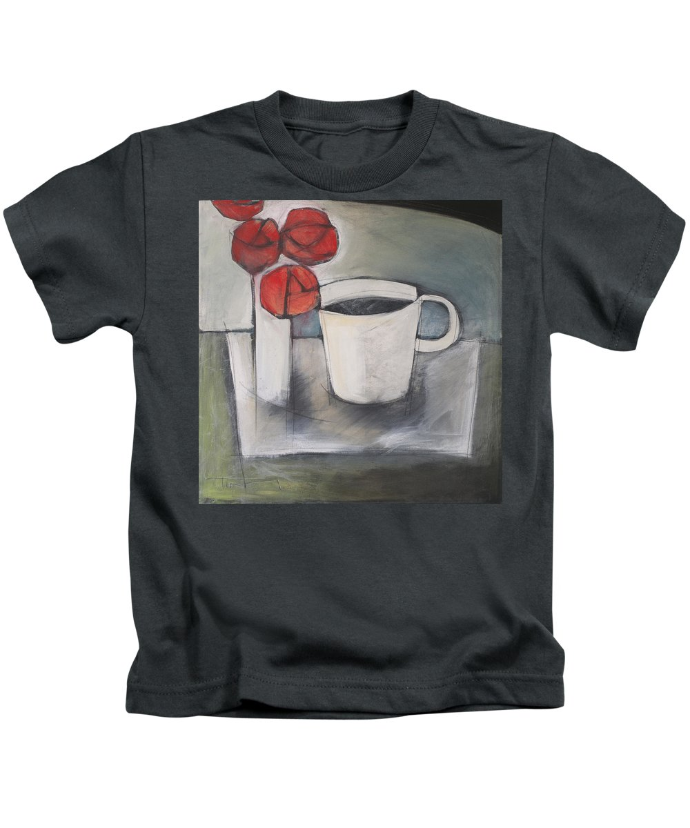 Roses Kids T-Shirt featuring the painting Coffee And Roses by Tim Nyberg