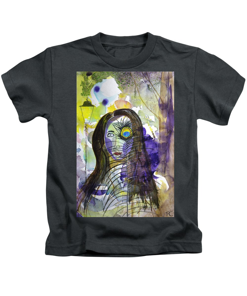 Watercolor Kids T-Shirt featuring the painting Collage Girl by Russ Cahn