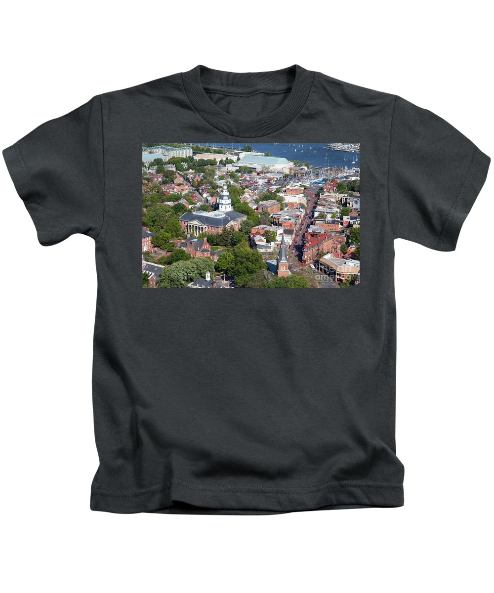 Historic District Kids T-Shirt featuring the photograph Colonial Annapolis Historic District And Maryland State House by Bill Cobb