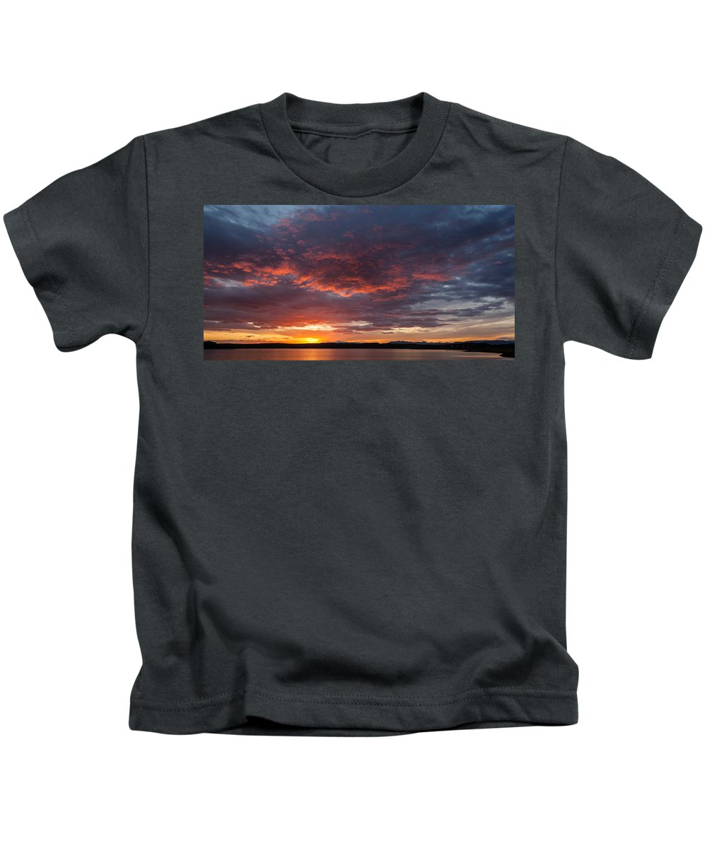 Photography Kids T-Shirt featuring the photograph Colorful Sunset, Snaefellsnes by Panoramic Images