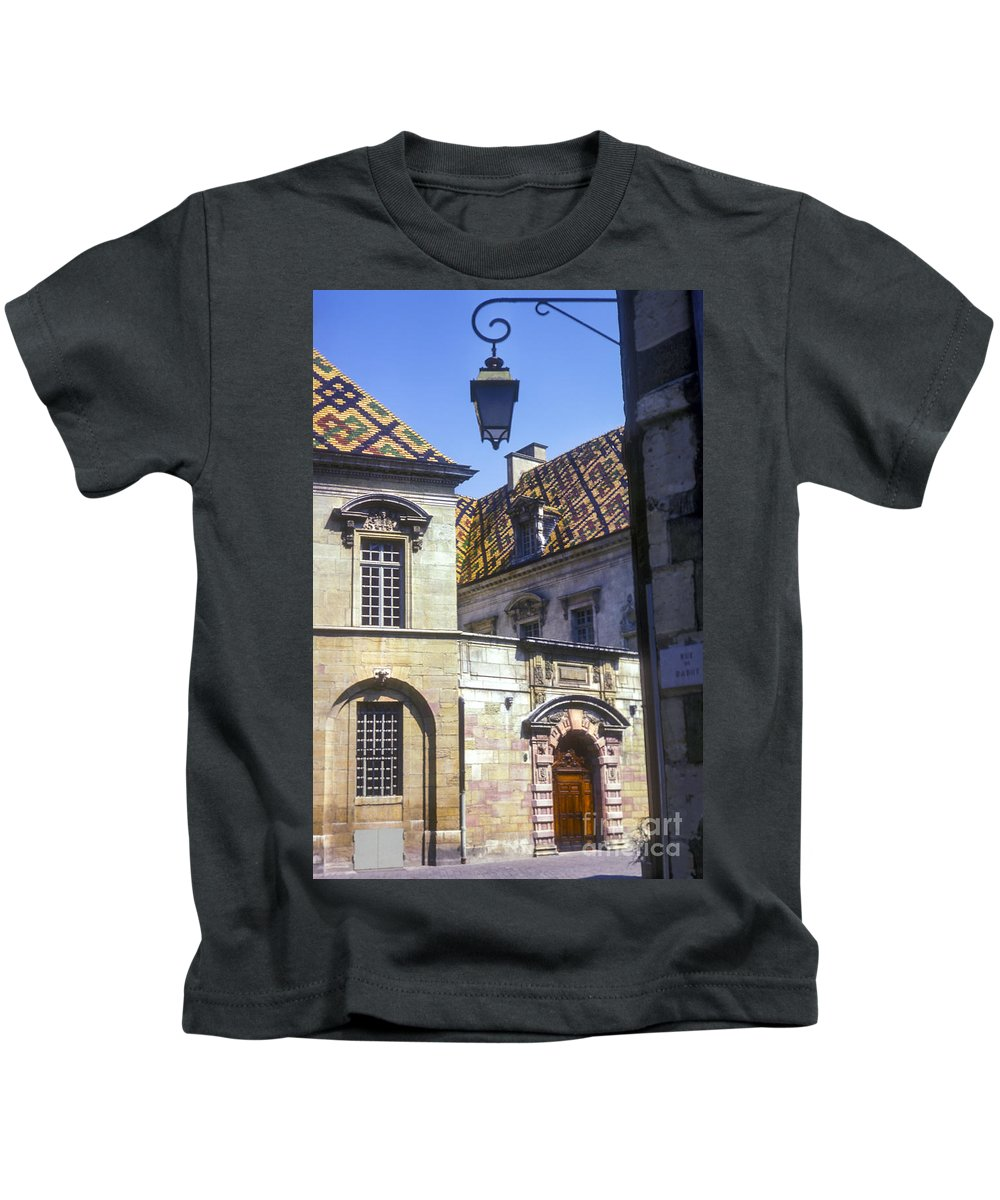 Dijon France Building Buildings Structures Structure Tile Rooftop Tiles Rooftops City Cities Cityscape Cityscapes Kids T-Shirt featuring the photograph Colorful Tiled Rooftops by Bob Phillips