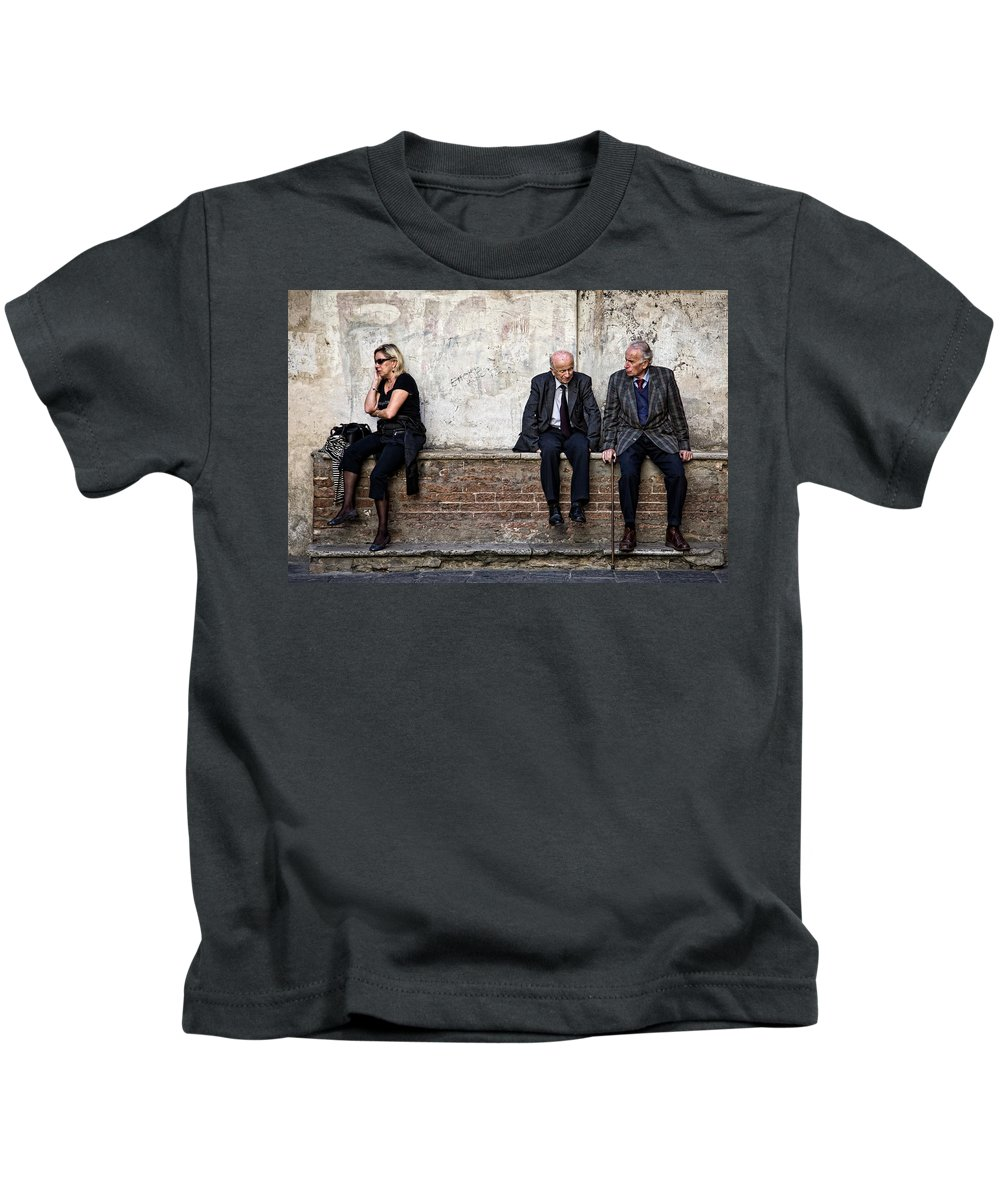 Street Photography Kids T-Shirt featuring the photograph Communication by Dave Bowman