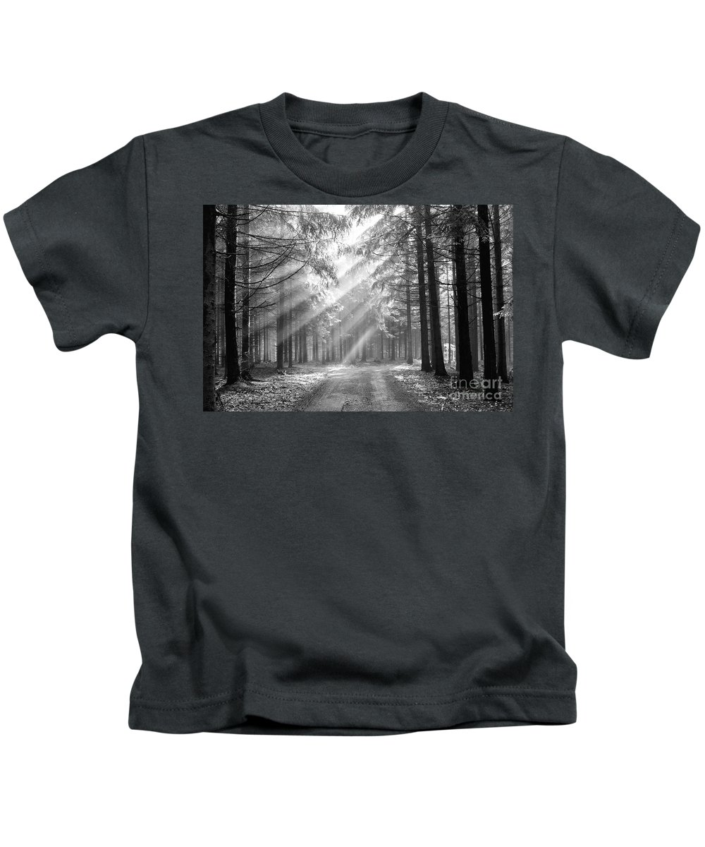 Forest Kids T-Shirt featuring the photograph Coniferous Forest In Early Morning by Michal Boubin