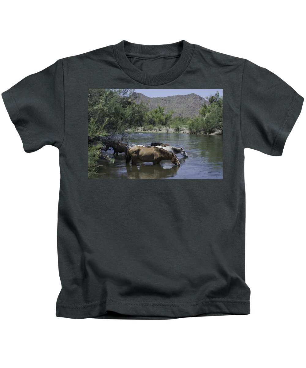 Horses Kids T-Shirt featuring the photograph Cooling Off by Lorraine Harrington