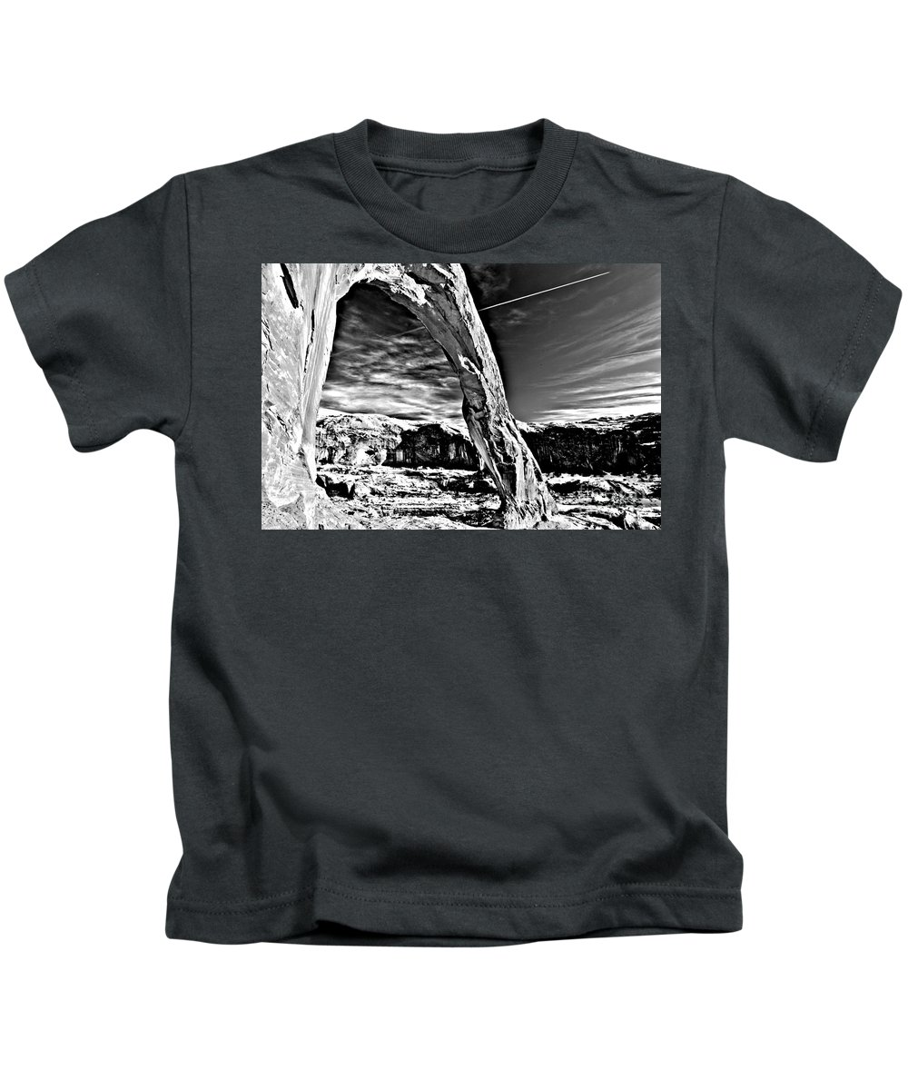 Coronoa Arch Kids T-Shirt featuring the photograph Corona In Black And White by Adam Jewell