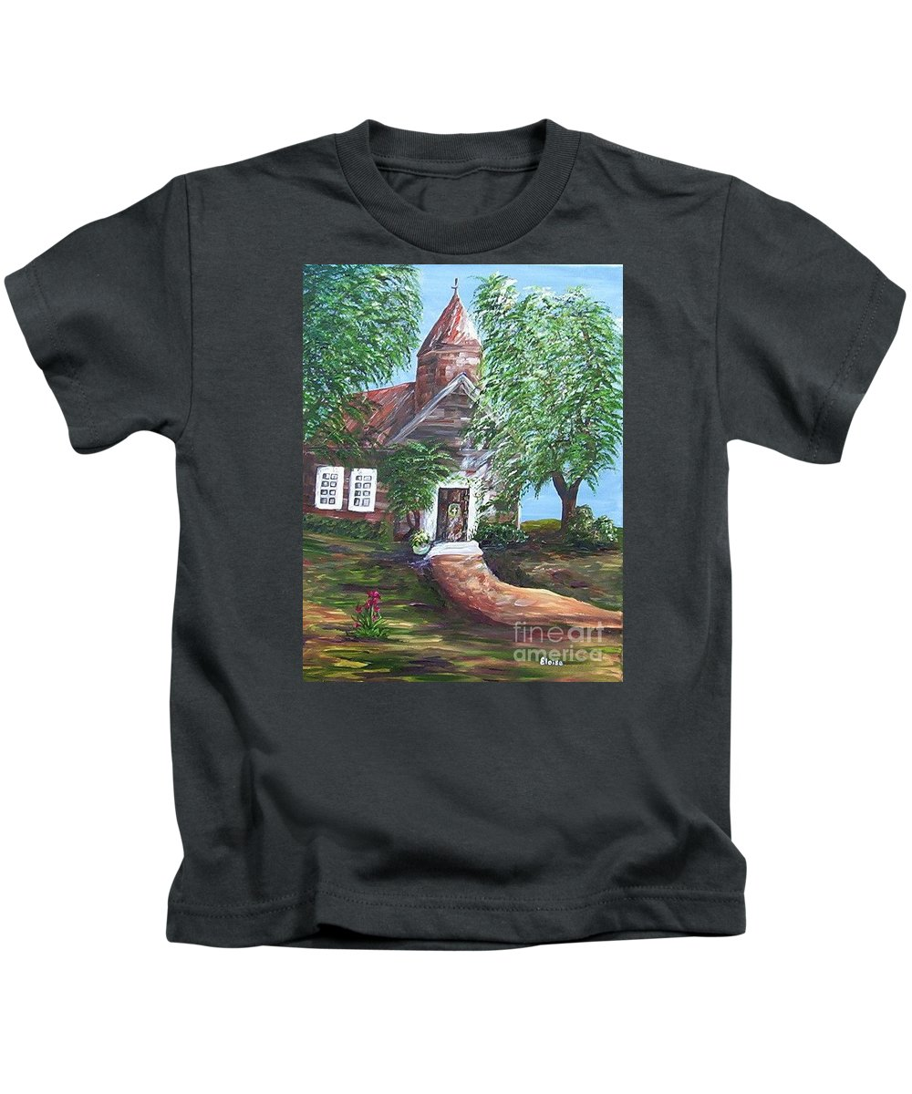 Church Kids T-Shirt featuring the painting Country Church by Eloise Schneider Mote