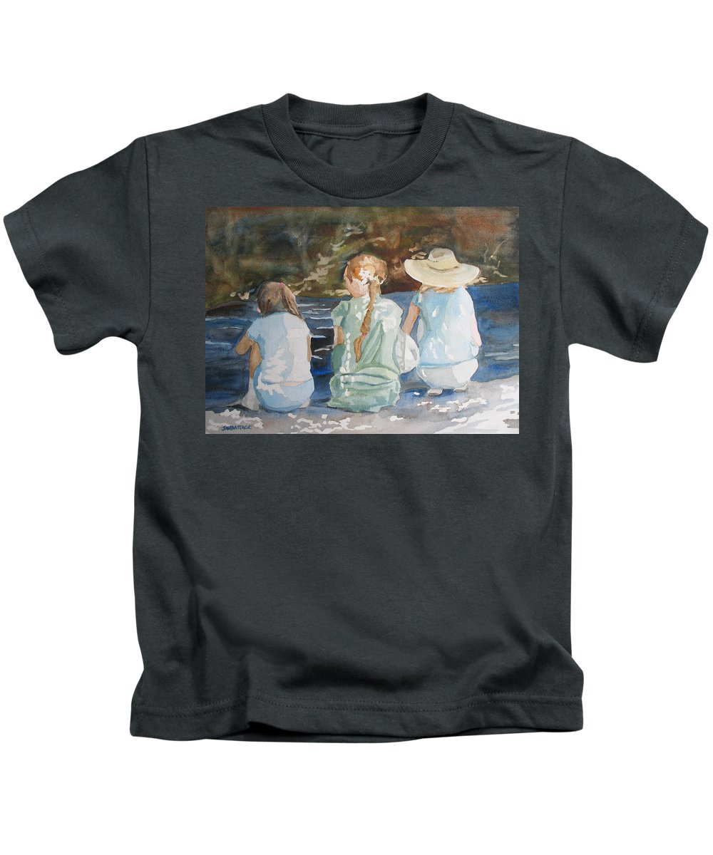 Brook Kids T-Shirt featuring the painting Cousins At The Brook by Jenny Armitage