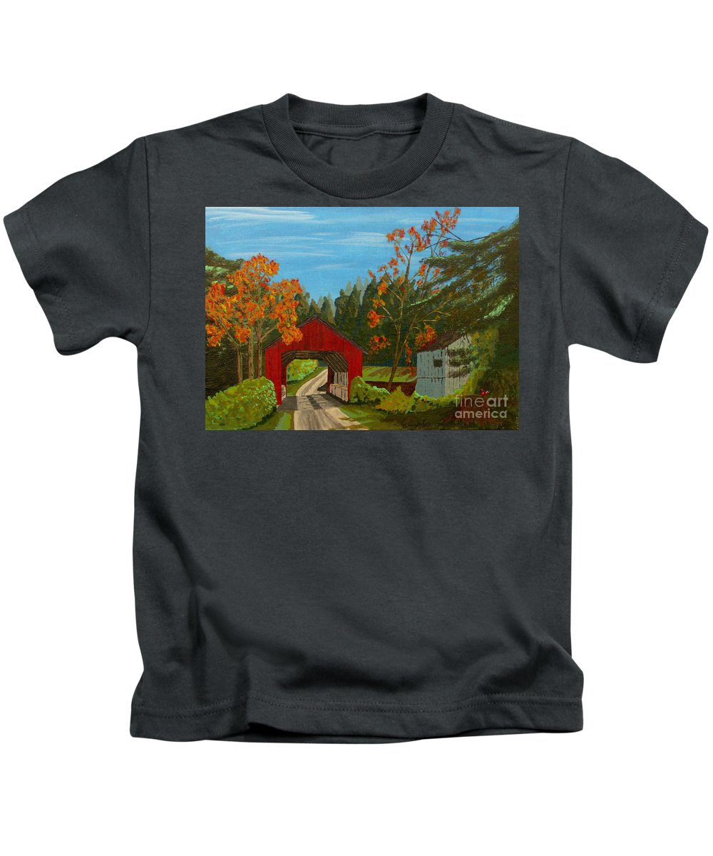 Path Kids T-Shirt featuring the painting Covered Bridge by Anthony Dunphy