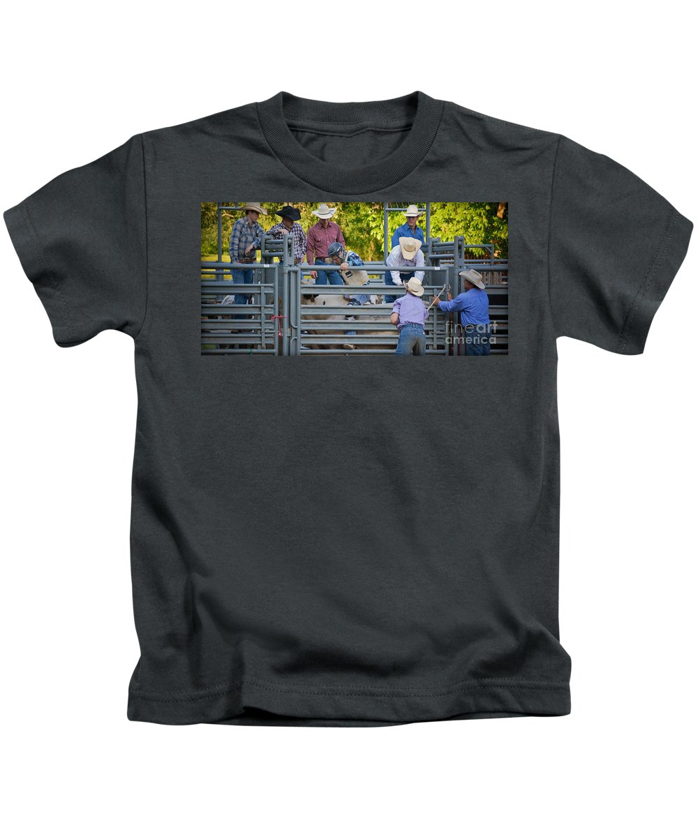 Competition Kids T-Shirt featuring the photograph Cowboy Countdown by Gary Keesler