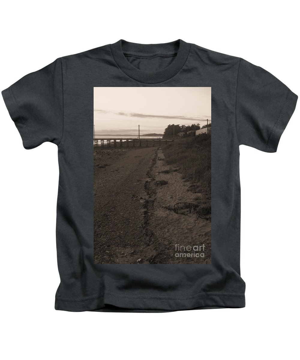 Sepia Kids T-Shirt featuring the photograph Crab Catching in Masset by Matthew Naiden