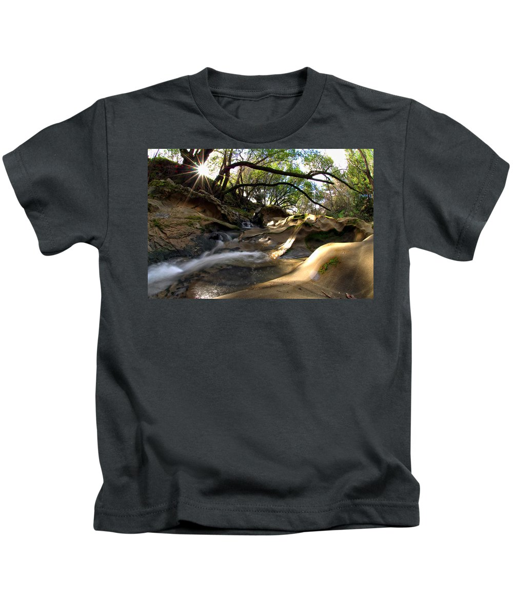 Landscape Kids T-Shirt featuring the photograph Creekside Sunrise by Donna Blackhall