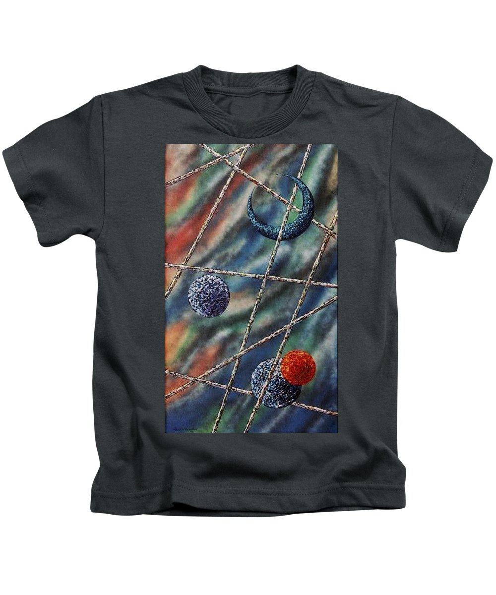 Abstract Kids T-Shirt featuring the painting Crescent by Micah Guenther