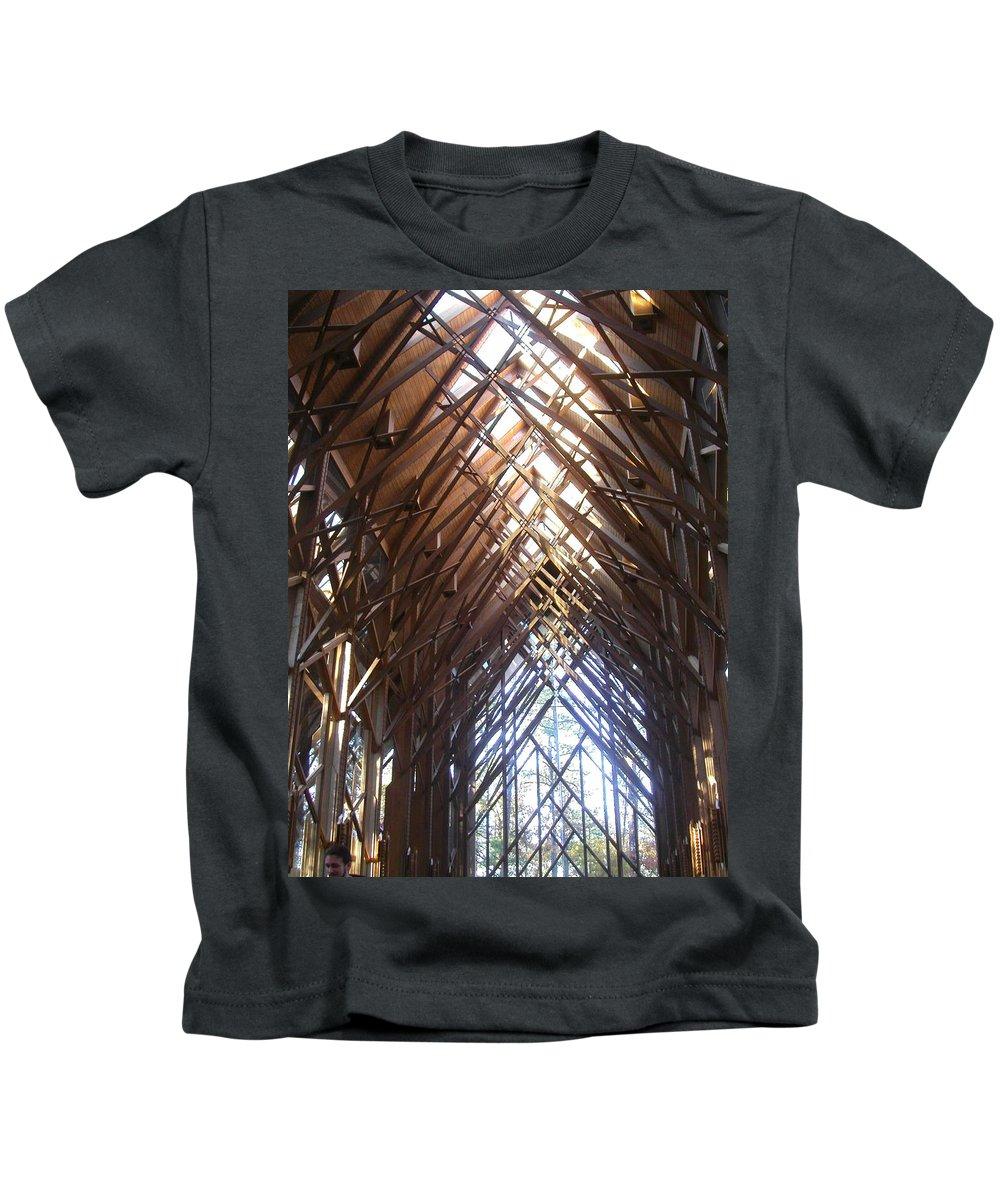 Chapel Kids T-Shirt featuring the photograph Criss Cross Chapel by Anne Cameron Cutri