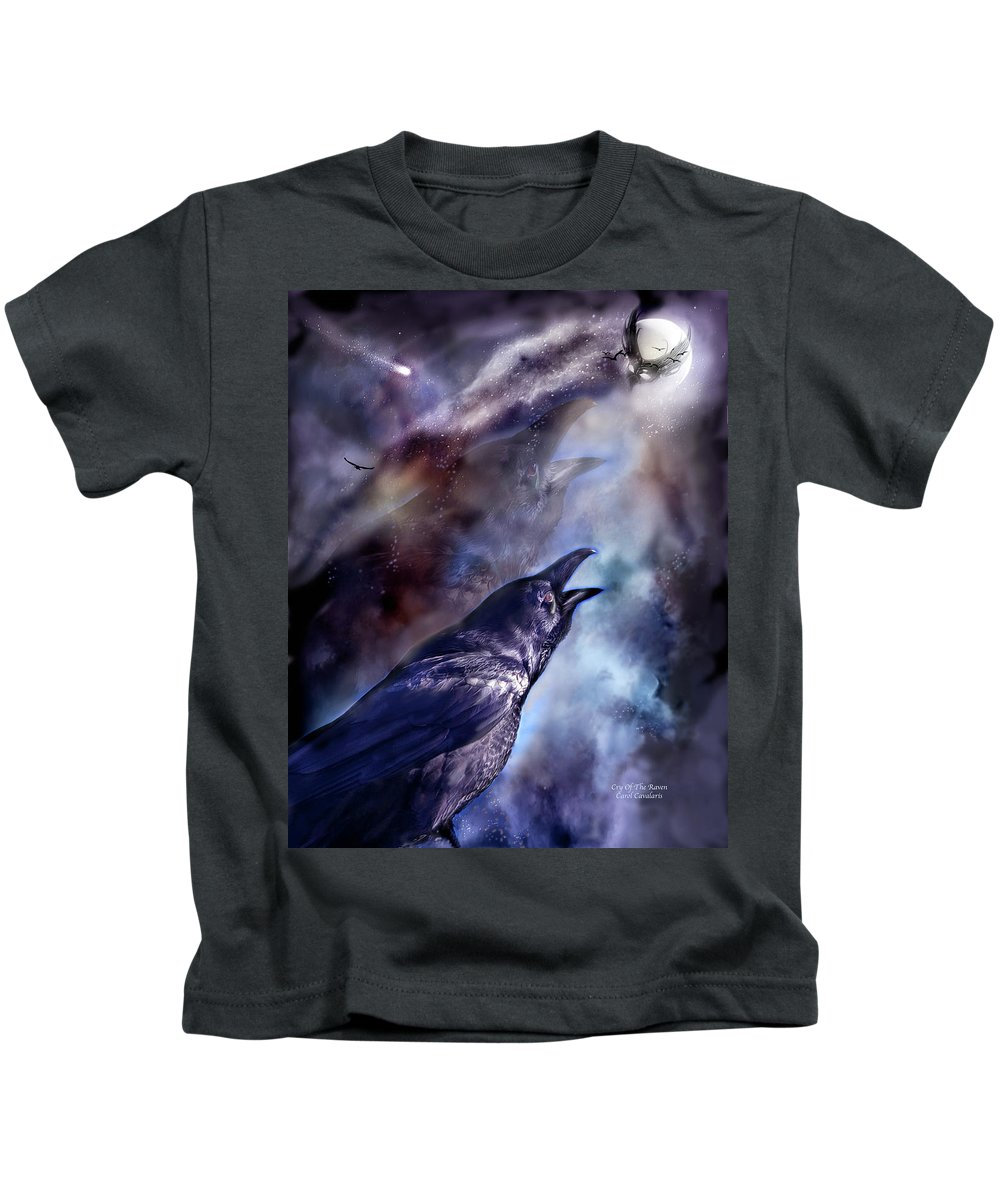 Raven Kids T-Shirt featuring the mixed media Cry Of The Raven by Carol Cavalaris
