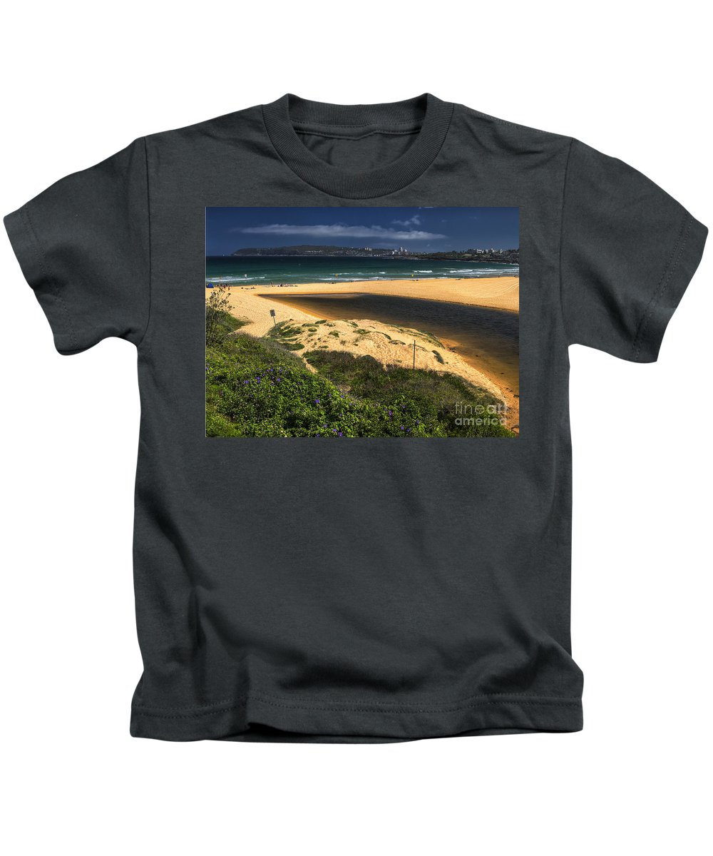 Curl Curl Beach Kids T-Shirt featuring the photograph Curl Curl Beach by Sheila Smart Fine Art Photography