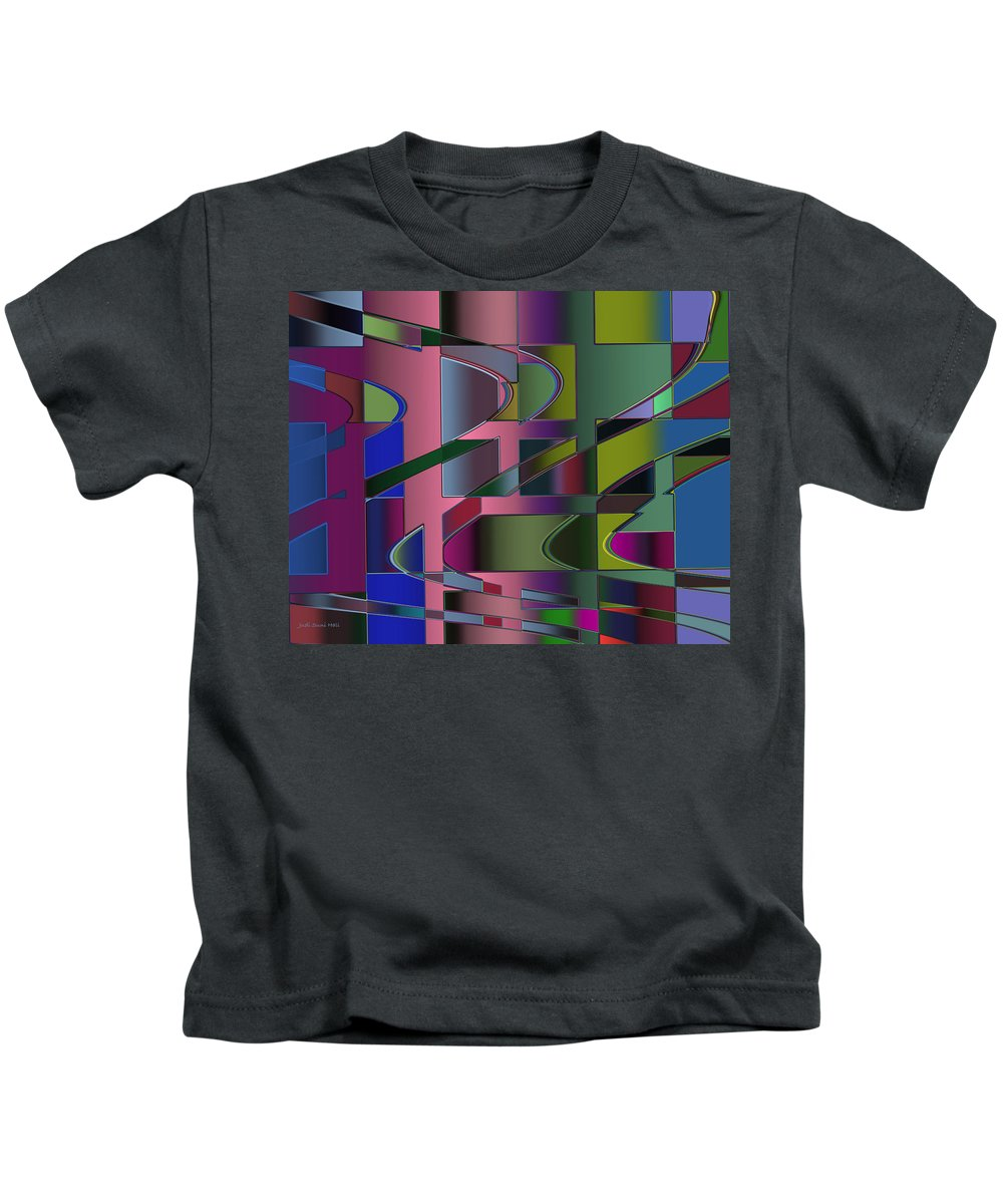 Geometric Kids T-Shirt featuring the digital art Curves And Trapezoids 3 by Judi Suni Hall