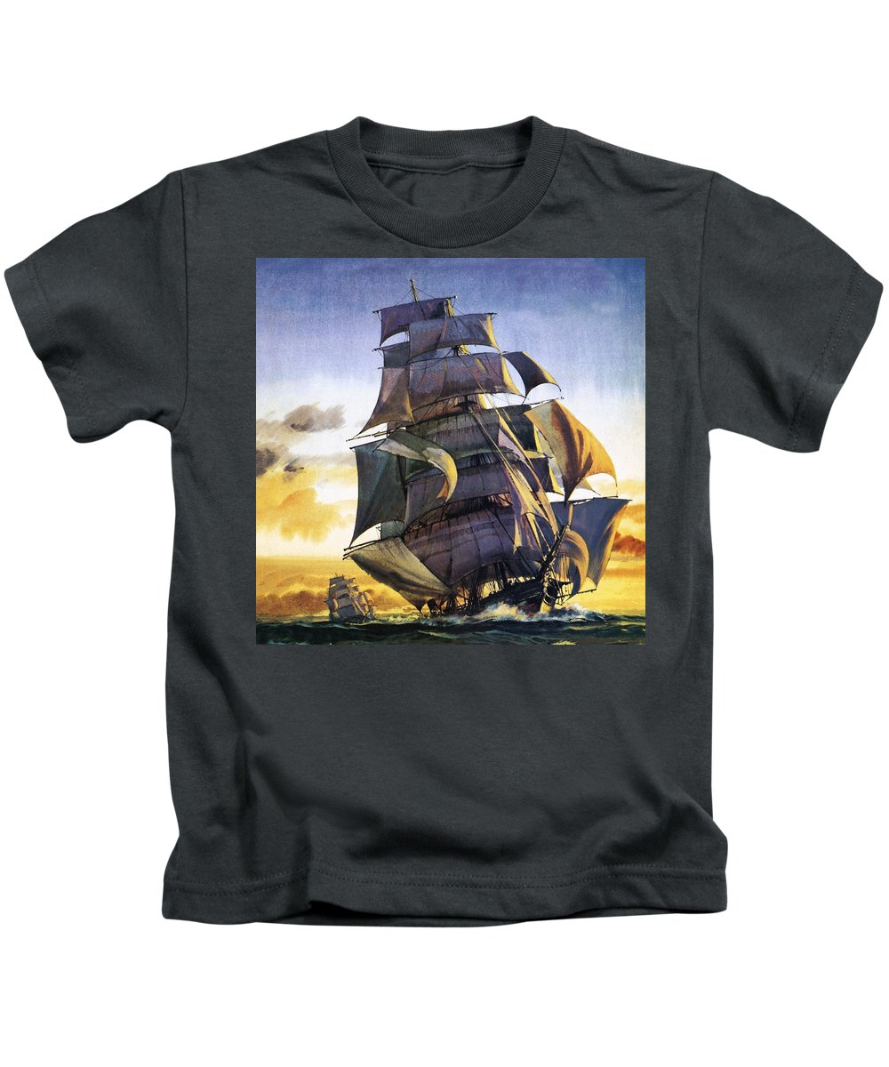 Cutty Sark Kids T-Shirt featuring the painting Cutty Sark by English School