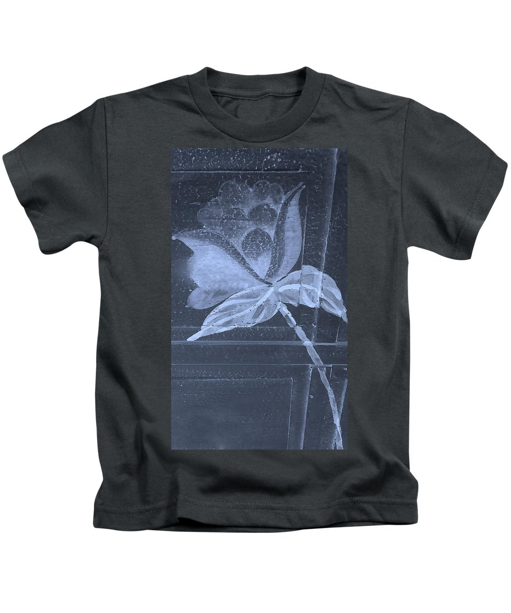 Flowers Kids T-Shirt featuring the photograph Cyan Negative Wood Flower by Rob Hans