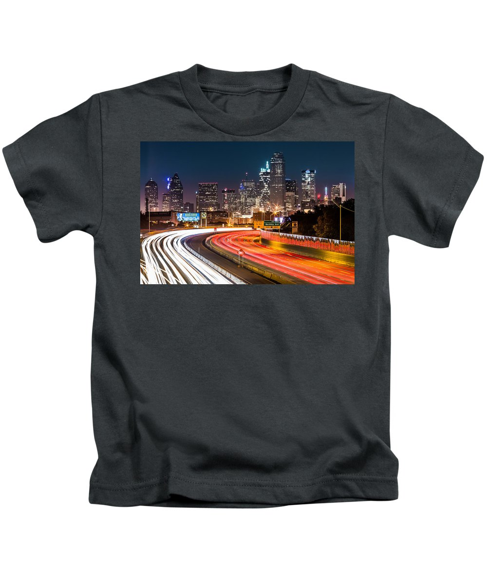 America Kids T-Shirt featuring the photograph Dallas Skyline by Mihai Andritoiu